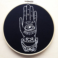 All Seeing Eye Hand Tattoo Flash Hand Embroidery Occult Illuminati eye of Providence Embroidery Hoop Occult Home Decor Sailor Jerry Flash