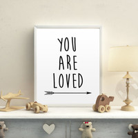 Black and White Art Arrow Art You Are Loved Printable Art Nursery Art You are So Loved Word Art Printable Art Printable Nursery Decor Print