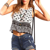 Woman Printed Casual Summer Camisole Top Sleeveless Top Elephant Print Crop Tank Top O-neck Shirts Femme Cropped Feminino