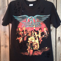 Grunge Aerosmith shirt with distressed holes size small