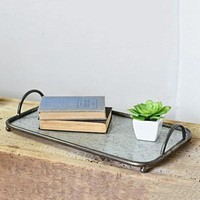 Rectangular Tin Handled Tray