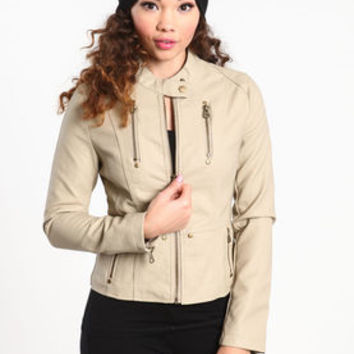 Faux Leather High Collar Jacket - LoveCulture