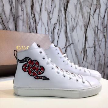 Gucci Men's Leather High Top Fashion Sneakers Shoes