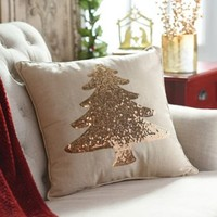 Gold Sequin Christmas Tree Pillow