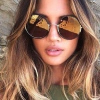 Veronica XL Lens Oversized Retro Round Boho Fashion Sunglasses