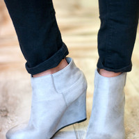 Close Out | Distressed Wedge Bootie | Grey | Shoes