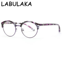 LABULAKA Fashion Half Metal Frame Cat Eye Glasses For Women Men Vintage Retro Unisex Glasses Big Frame Slim Face Eyewear Gafas