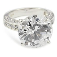 """CZ by Kenneth Jay Lane """"Trend Cubic Zirconia"""" Rhodium-Plated Overstated Round Cocktail Ring, Size 7, 6 CTTW"""