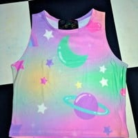 SWEET LORD O'MIGHTY! PRINCESS GALAXY CROP TANK