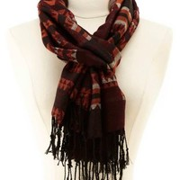 Woven Aztec Fringe Scarf by Charlotte Russe - Red Combo