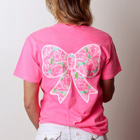 SM Bow White & Mint Short Sleeve - Neon Pink
