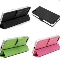 For Apple Iphone 5 5g Leather Magnetic Wallet Smart Cover Flip Stand Case