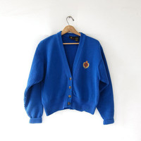 Vintage Prep School Cardigan Sweater. Cropped Sweater. Preppy Blue Button Up Sweater.