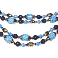 Vintage Blue Bead Necklace Long Length Double Strand