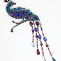 Rhinestone Peacock Brooch, Vintage Signed AVON SP Jewelry, Jewel Tone Rhinestones Bird Pin with Dangling Bead Tail Feathers