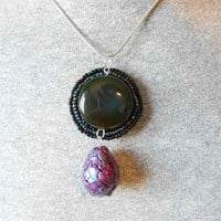 Dragon Egg Pendant with natural stone and seed beads