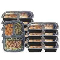 Glomery 3 Compartment Reusable Bento Lunch and Food Storage Container with Airtight Lid, Stackable, Microwavable, Freezer & Dishwasher Safe 10 Pack - Walmart.com