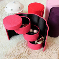 Multi-Color Suede 3-Layer Cylinder Shaped Jewlery&Cosmetic Storage Box = 1741634948