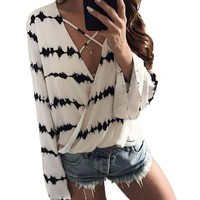 AIEnny Lace-up Long Sleeve V Neck Front Crossed Blouse, S - XL