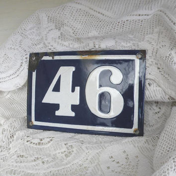ORIGINAL French vintage enamel house number 46, shabby chic house number, number 46, number wall plaque, blue and white enamel house number
