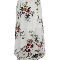 White Floral High Waist Wrap Maxi Skirt