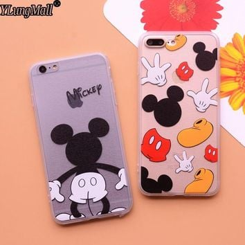 Mickey Mouse Fundas Coque Phone Cases for iPhone 8 7 plus 6s 6 plus X Case Silk Hard Back Soft Frame Flexible Cover