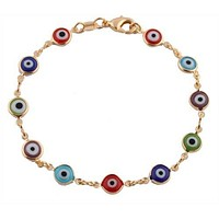 Gold Overlay with Colorful Mini Evil Eye Style 7.5 Inch Clasp Bracelet
