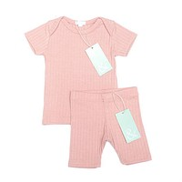 Petals and Peas Rose Ribbed Tee & Shorts Set