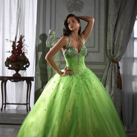 Green Long Tulle Crystal Rhinestone Ball Gown Quinceanera Dress Prom Party Gown Alternative Measures - Brides & Bridesmaids - Wedding, Bridal, Prom, Formal Gown