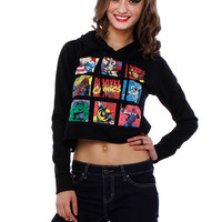 MARVEL GRAPHIC CROP HODED TOP