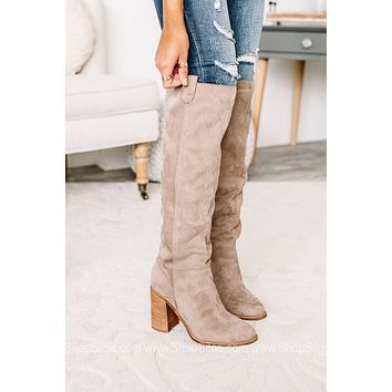 Saint Soft Suede Tall Boots | Taupe