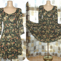 Vintage 90s Empire Waist Full Sweep Babydoll Mini Dress Contempo Casuals 11/12 Grunge Floral