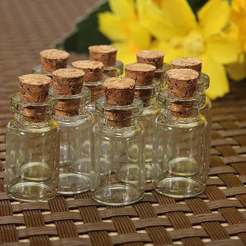 10 Cute Mini Cork Stopper Glass Bottles Vials Jars Containers = 1932217092