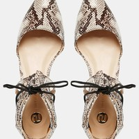 River Island Lace Up Snake Print Ankle Flats