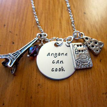 """Disney's """"Ratatouille"""" Inspired Necklace. Remy the rat in Paris """"Anyone Can Cook"""". Swarovski crystal, for women or girls."""