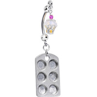 Cupcake Love Double Mount Belly Ring Created with Swarovski Crystals | Body Candy Body Jewelry