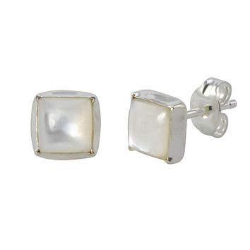 Sterling Silver 7mm Square Mother of Pearl Stud Earrings