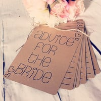 Advice For The Bride Book Bridal Shower Gift Kraft Brown Cardstock Bridal Advice Book Rustic Advice Book Under 20 Gift Rustic Bridal Shower