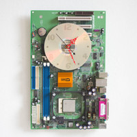 Geeky Wall clock - recycled Computer - green circuit board - ready to ship c0836