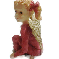 SALE - Red Pajama Pigtail Blond Girl Angel - S Lordi PJ Kids Collection - was 16.00 - now 10.00