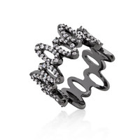CZ and Hematite Oval Fashion Ring