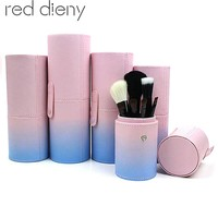 Portable Travel Makeup Brush Round Pen Holder Organizer PU Leather Cosmetic Brushes Cup Container Case Makeup Tool High Quality