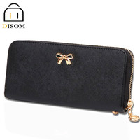 New arrival 2015 fashion women wallets Long Style bow zipper purses PU Leather wallets for women  coin bag hot sale lady purses
