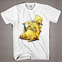 Pikachu Funny Drunk Alcoholism  Mens and Women T-Shirt Available Color Black And White