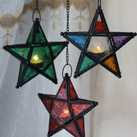 The Moroccan color hang candlestick candles five-pointed star colorful candlestick for light for house shop bar decoration