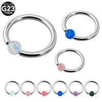SwanJo G23 Titanium Septum Piercing Nose Ring Opal Ball Closure Nipple Lip Tragus Eyebrow  Earring Nose Rings Body Jewelry