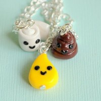Handmade Toilet Paper, Pee Drop and Poop Three-Way Best Friend Necklaces - Whimsical & Unique Gift Ideas for the Coolest Gift Givers