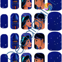 Aladdin & Jasmine Scene Disney Princess Nail Art Water Transfer Decal - Waterslide Paper - Water Slide Paper