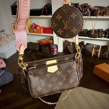LV Louis Vuitton pochette chain bag shoulder bag three pieces suit free shipping