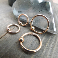 """Rose Gold Nipple Rings 14g 1/2"""" 12mm Captive Bead Septum Nose Ring Conch Piercing 5/16"""" 8mm Earring Daith Hoop Cartilage Rings Body Jewelry"""